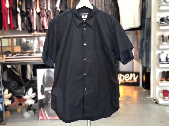 COMME des GARCONS HOMME DEUX Fake Layered Sleeves Shirt BLACK LARGE 75JG7648