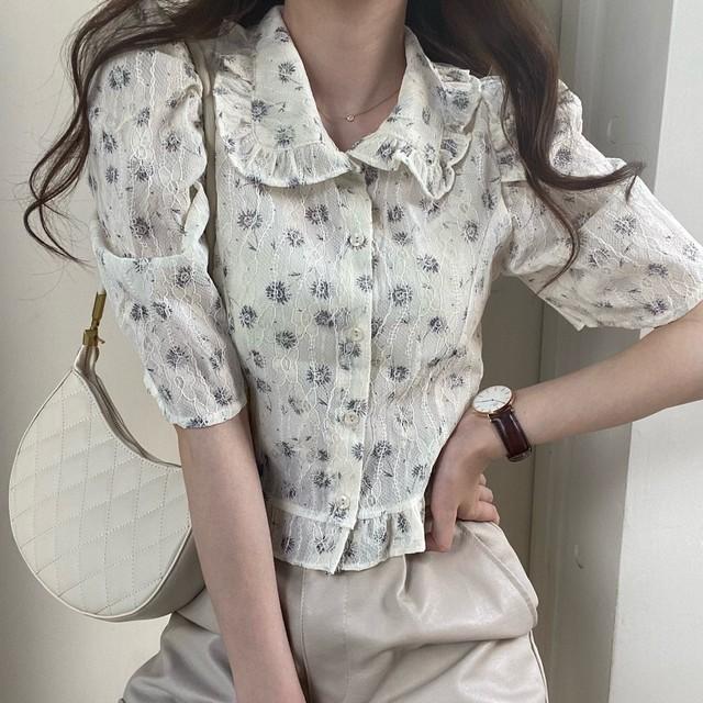 rétro stitch flower blouse