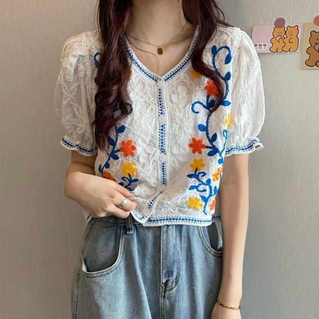 【トップス】美人度アップ レトロ Vネック 刺繍 花柄 合わせやすい シャツ45053109