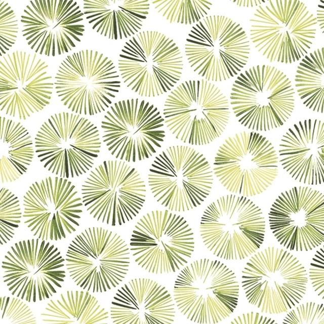 予約商品【Daisy】バラ売り2枚 ランチサイズ ペーパーナプキン Green Watercolour Medallions グリーン