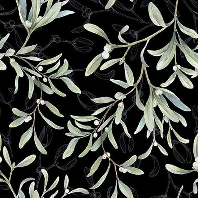2021秋冬【Ambiente】バラ売り2枚 ランチサイズ ペーパーナプキン Mistletoe All Over ブラック