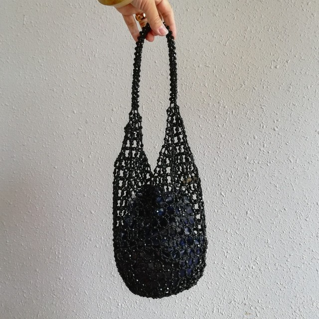 ne Quittez pas(SMALL BEADS BAG BLACK)