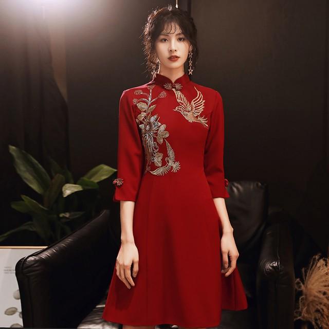 パーティードレス ショートドレス チャイナ風ドレス 演奏会 発表会 結婚式 プレゼント S M L LL 3L 気質良い レトロ 着痩せ スリム レッド 赤い スタンドネック 七分袖 刺繍