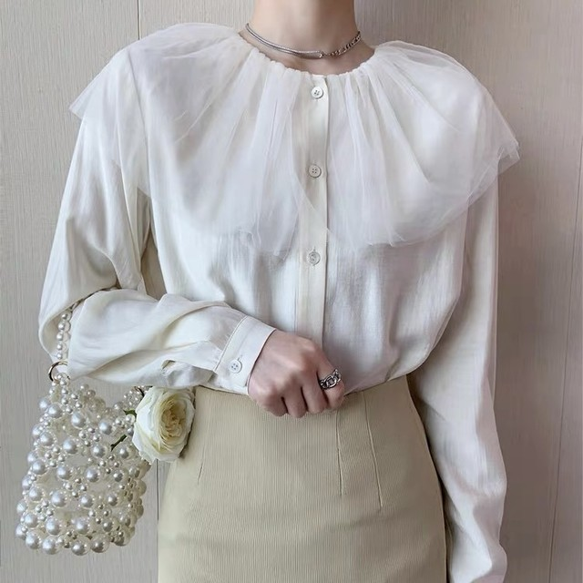 see-through cape collar blouse