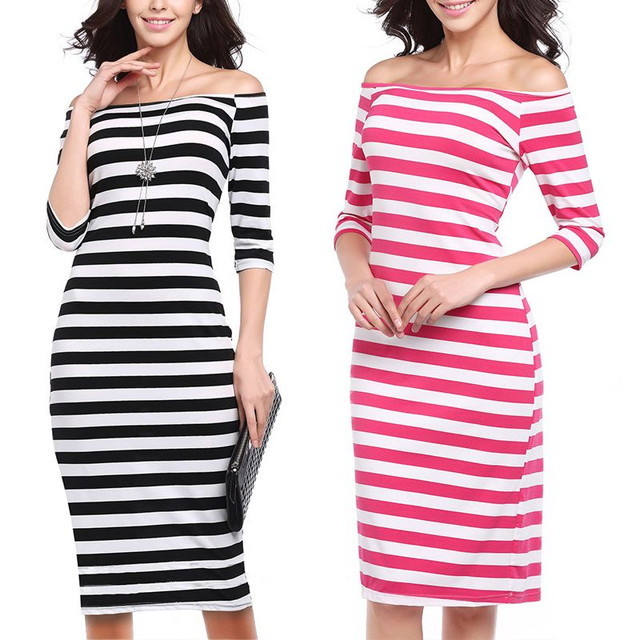 SUMMER STYLE SEXY WOMAN HORIZONTAL STRIPES HIP A-LINE DRESS / ストライプヒップ A ラインドレス (SKU : 18WD078)