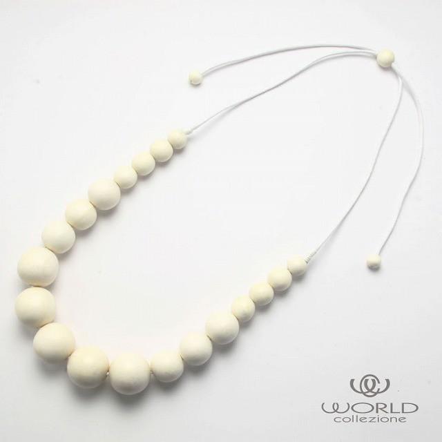 【worcolle】ウッドのボールデザインネックレス(No.131428)