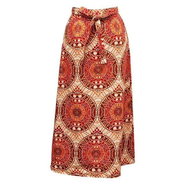 Iラインスカート パール レッド × ベージュ  × ブラウン(日本縫製)| アフリカンプリント アフリカンファブリック アフリカンバティック パーニュ キテンゲ アフリカ布 ガーナ布 エスニック ロングスカート エスニック レディース 女性