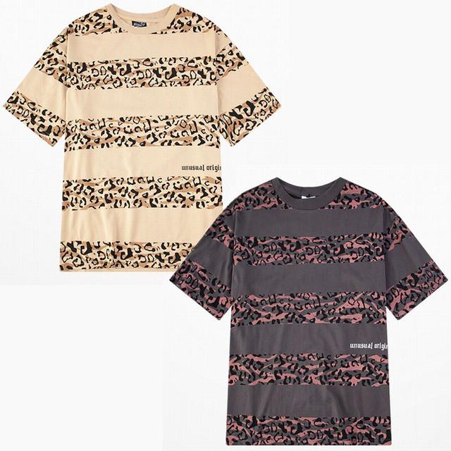 ユニセックス 半袖 Tシャツ メンズ レディース ヒョウ柄 ボーダー オーバーサイズ 大きいサイズ ルーズ ストリート TBN-610412130332