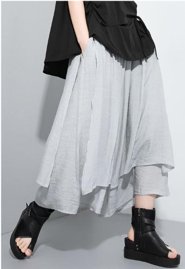 カジュアルパンツ ゆったり グレー 黒 ブラック 白 ホワイト スタイリッシュ 大人カジュアル スマート モード系 1417
