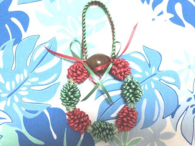 ハワイアンリボンレイ【(レシピなし)クリスマスボウズ&ククイレイチャーム】 キット
