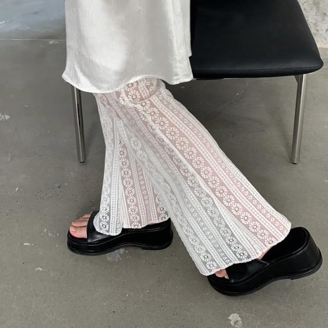 straight line lace pants