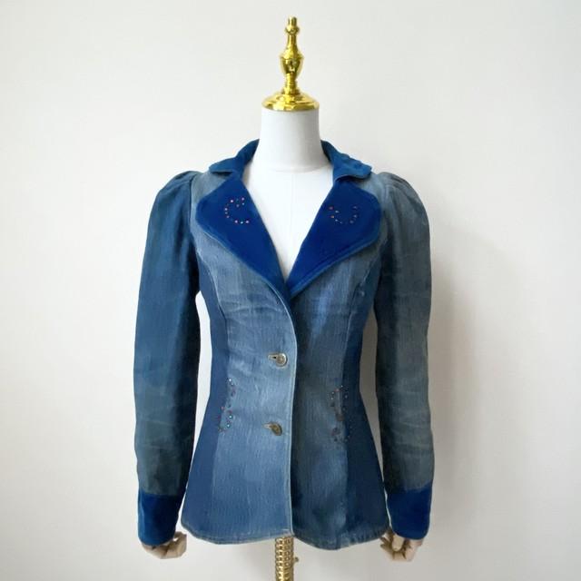 70年代 USA製 ヴィンテージ リメイク デニムジャケット アメリカ 古着 S〜M