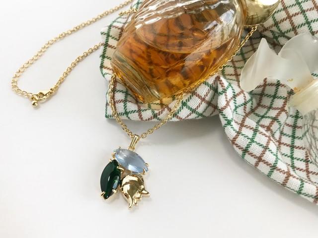 Muguet pendant ー forest green x sweet blue ー