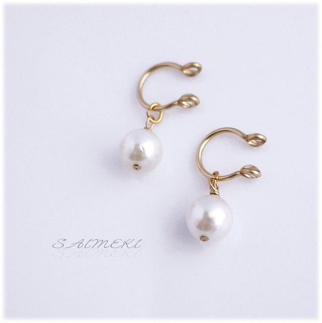 アコヤ真珠の一粒イヤリング〔14kgf〕