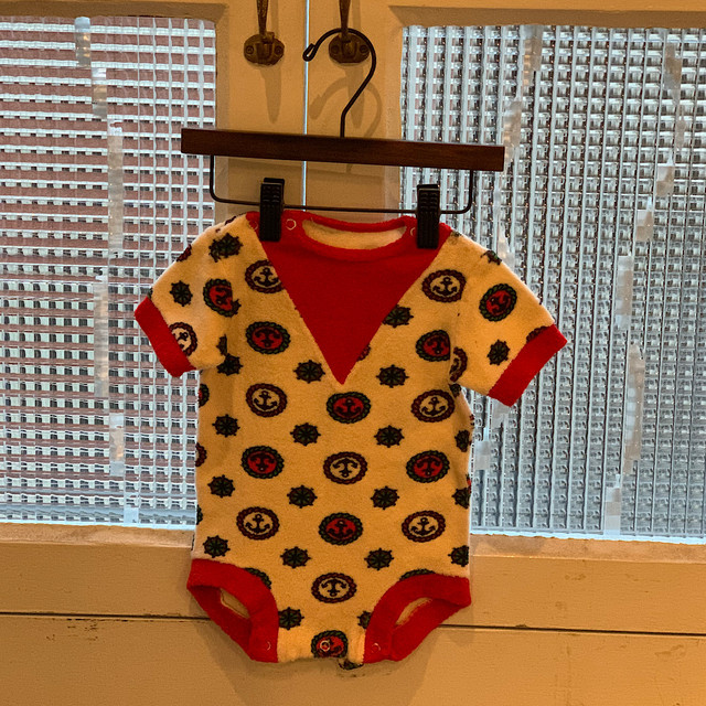 【KIDS】70's terrycloth romper- French - Size 1 month