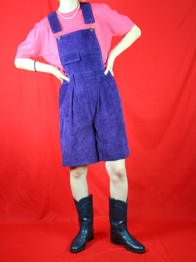 leather overall shorts【0449】