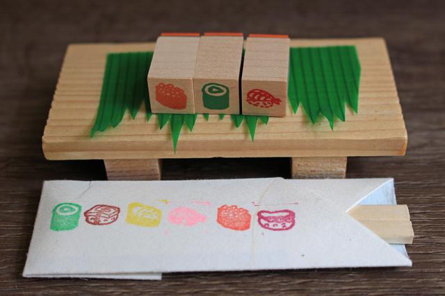 ミニ寿司はんこB いくら、かっぱ巻、えび