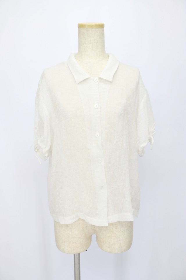 see-through design blouse / WHT