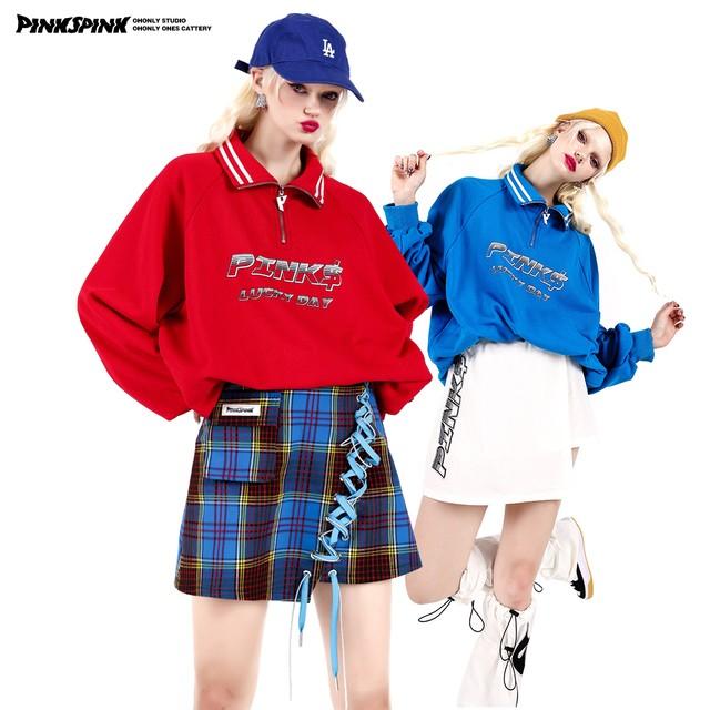 【PINKSPINK】ハーフZIPスウェットトップス