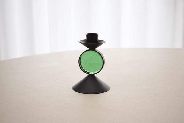 Ystad metall candle holder green(Gunnar Ander)