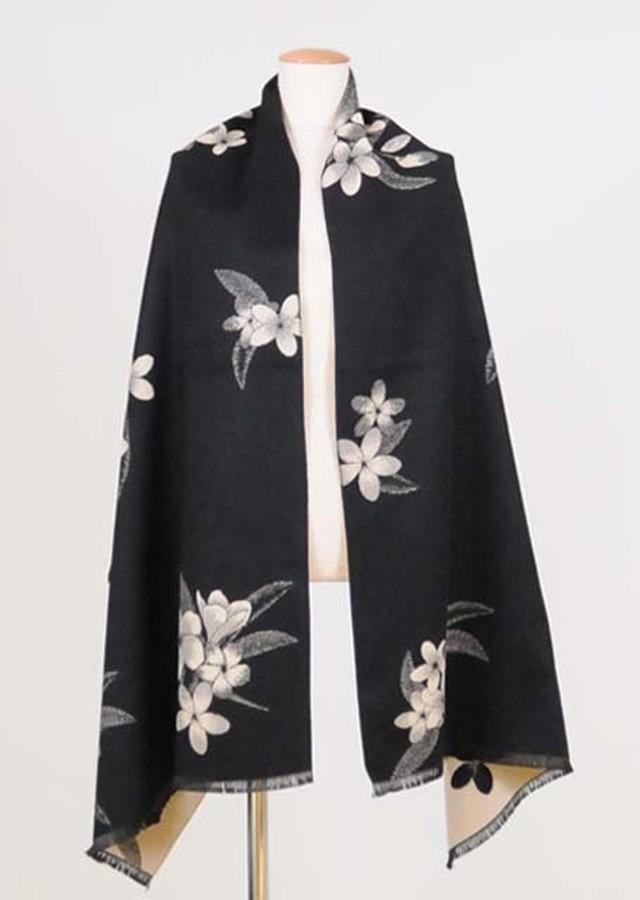 kikou スミレの模様を織り込んだ大判のストール UKD26-G508 BK/F