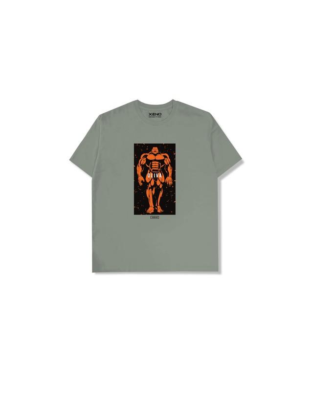 """XENO x BAKI Collaboration T-shirt """"OLIVA"""" Olive"""