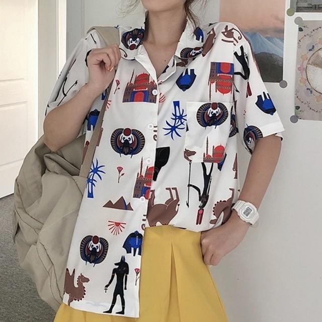 【トップス】カジュアルプリントゆるリラックス半袖Tシャツ43544997