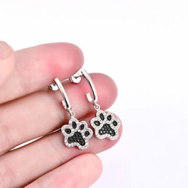 【送料無料】スターリングシルバーペットプリントイヤリングクリスタルスタッド925 sterling silver cute pet cat puppy dog paw print earring crystal cz ear stud