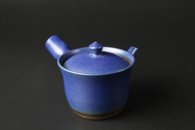 朝顔型藍いらぼベンリー急須 萬古焼(44104)