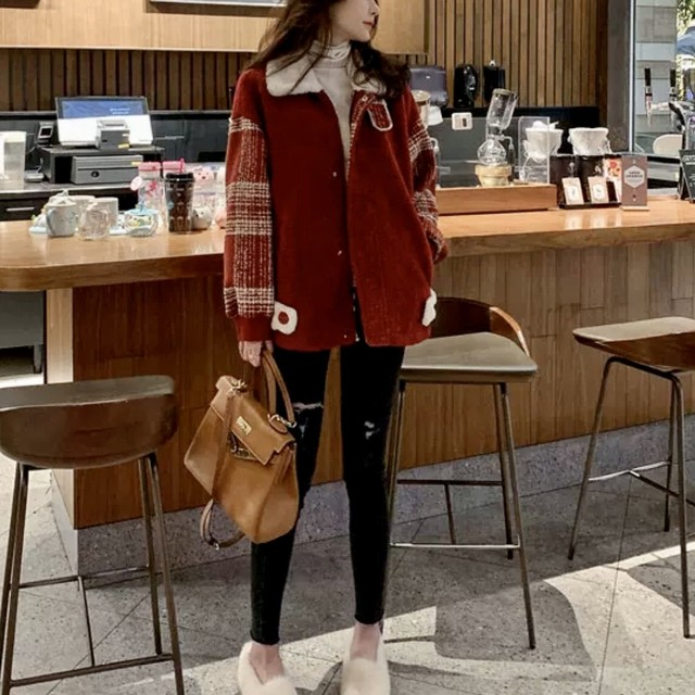 チェック 柄 切り替え ボア ジャケット アウター レディース 秋 冬 物 ショート 丈 長袖 韓国 ファッション 大人 カジュアル 暖か い あたたか い OU-0169