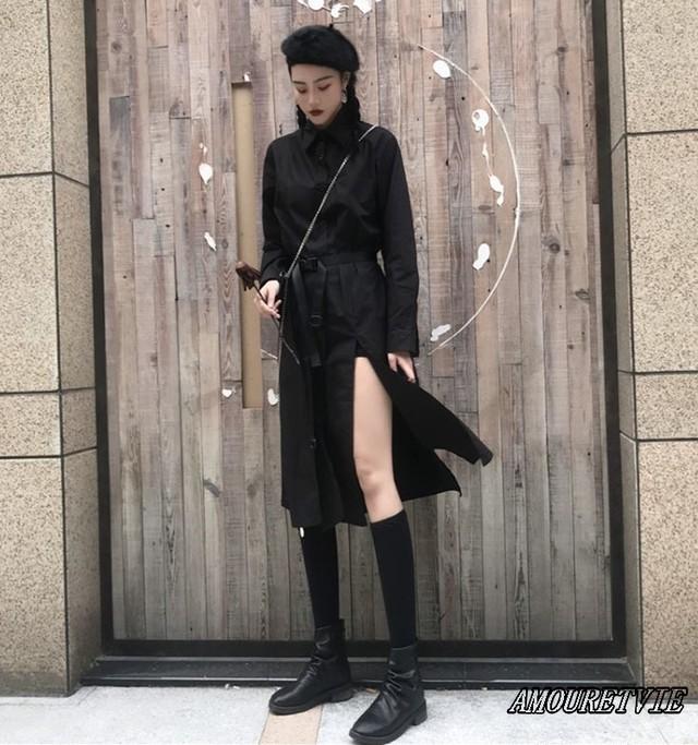 ドレス アウター ワンピース スプリット スリット 黒 ブラック ベルト付き オルチャン 韓国ファッション 782