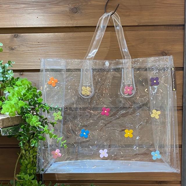 【オンライン限定価格¥2,970→¥2,200】No387クリアビニールバッグ横型(花色マルチカラー)