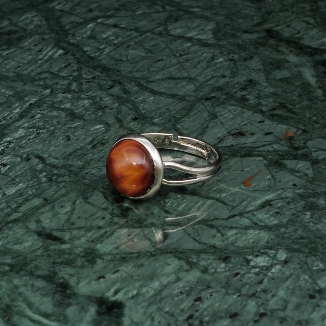 ROUND STONE RING SILVER 011