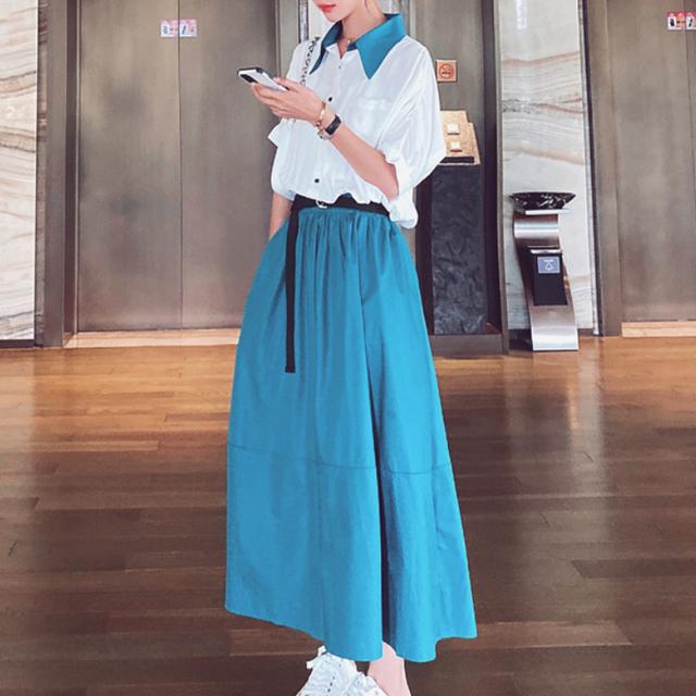 【ワンピース】トレンドアイテムファッション切り替え配色デートワンピース45265561