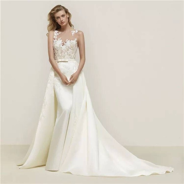 ロマンチック 清楚な2wayドレス トレーンのスカートは取り外し可能