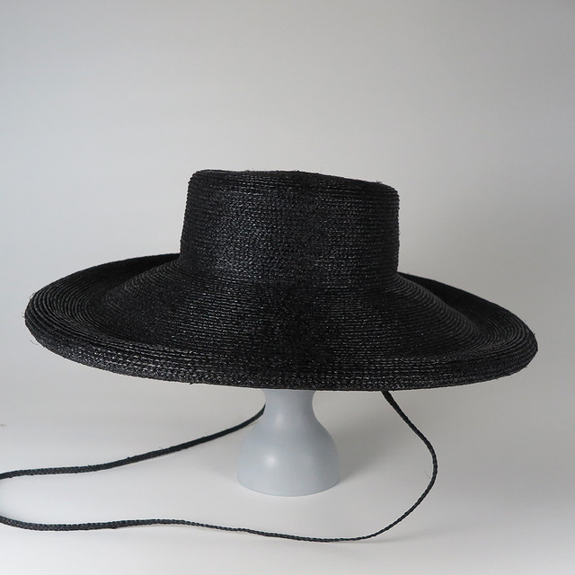 SS20-BE-3 Paper Braid Long Brim Breton BEG/BLK/GYG