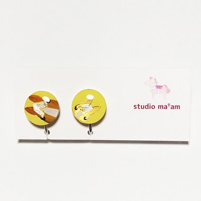 【ひょっこりウマ】イヤリング まる-5(栗毛のおやこ、黄ベース) ※ピアス変更可