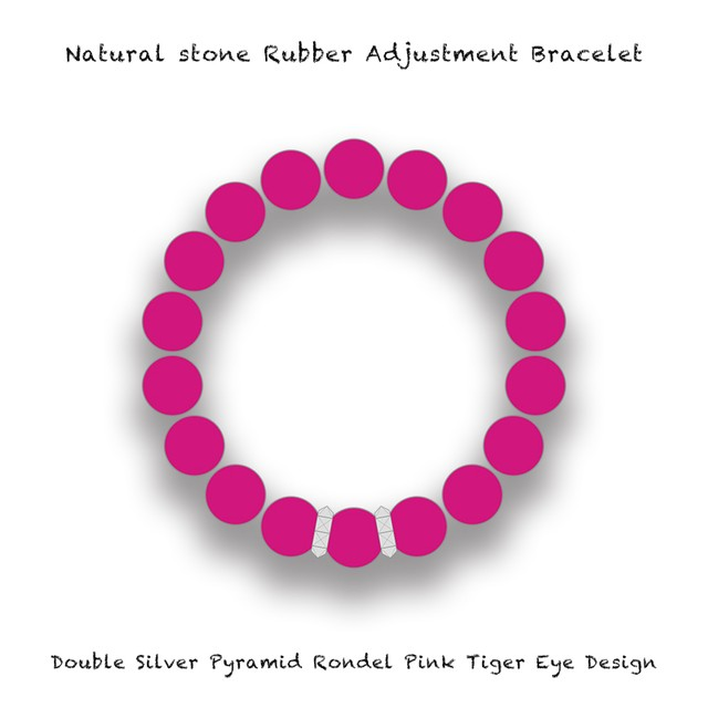Natural Stone Rubber Adjustment Bracelet / Double Silver Pyramid Rondel Pink Tiger's Eye Design