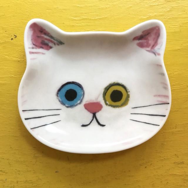 ecoute! minette 豆皿 白ネコ