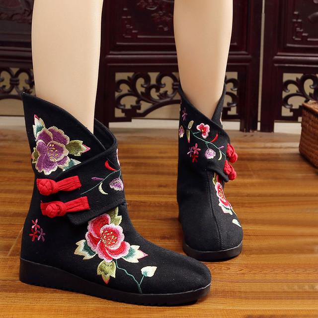 3色選択 刺繍靴 チャイナ靴 唐装漢服シューズ 中華服 チャイナドレス サイズ35-40 ブラック ブルー レッド