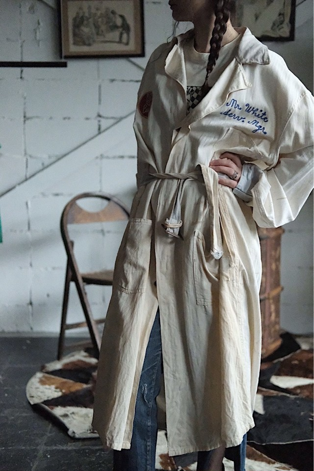 Vintage work overall coat white
