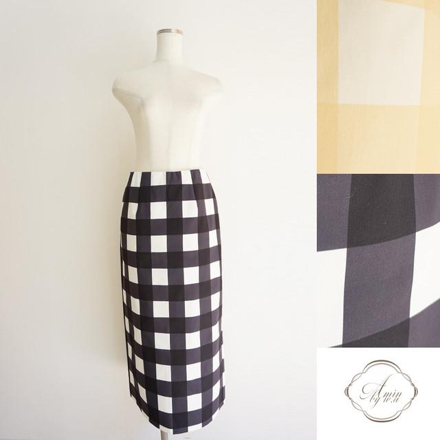 ブロックチェックIラインスカート