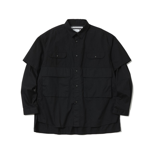 CONTRASTED BIG SHIRT - BLACK