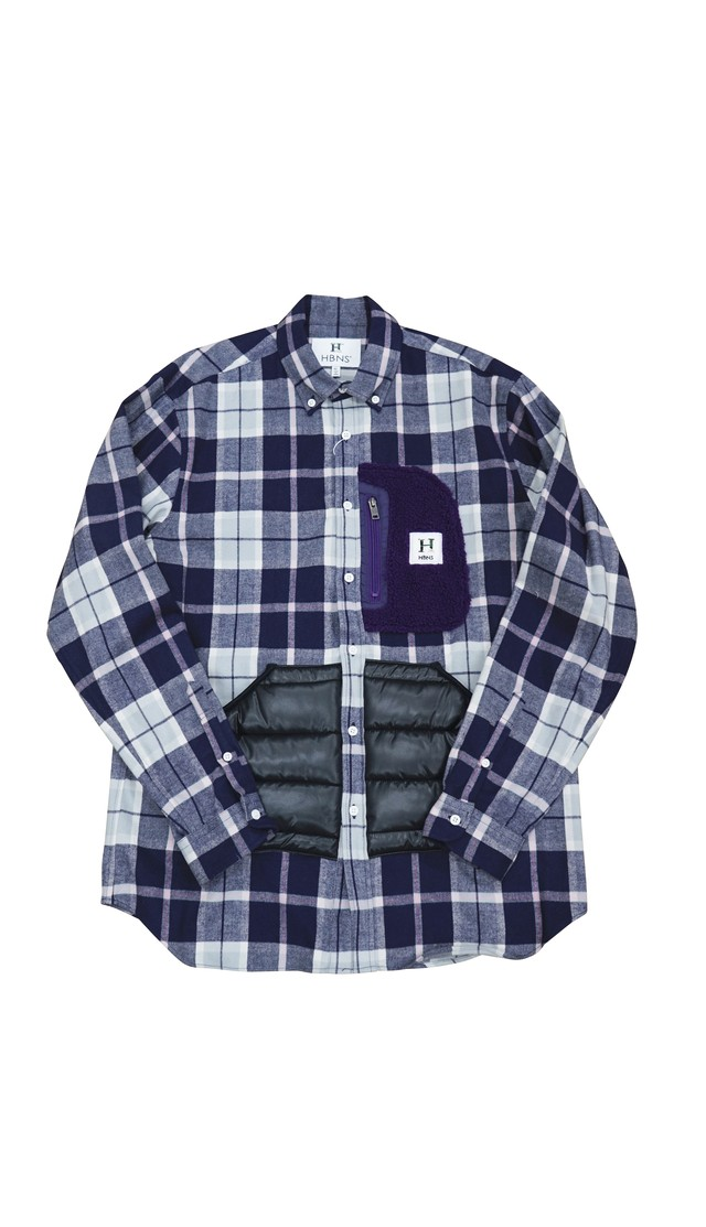 OUTDOOR POCKET CHECK SHIRTS (NAVY)