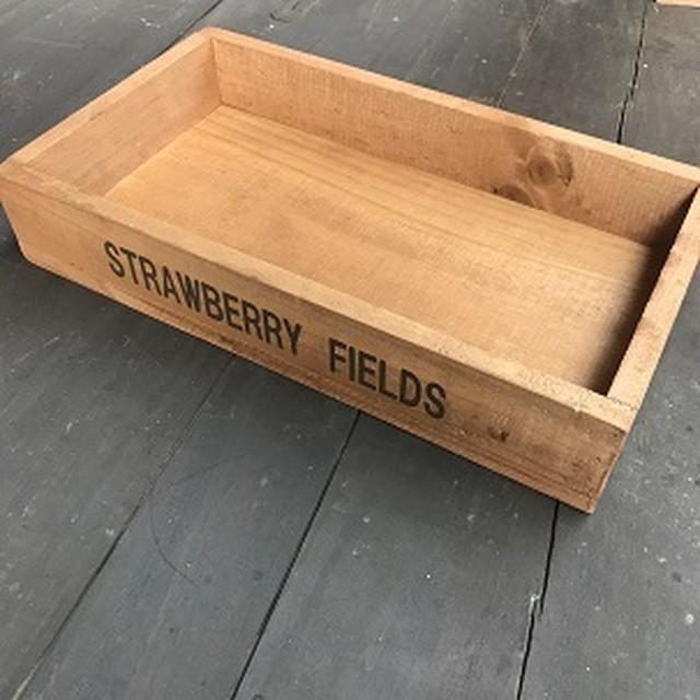 木箱 小物入れ シルクスクリーン印刷 小箱  STRAWBERY  FIELDS