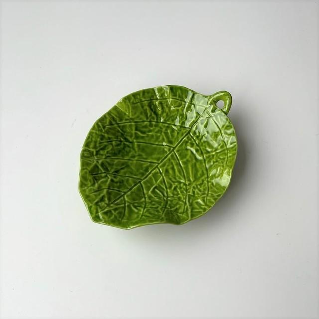 【有田焼】柚子グリーン 三ッ足木の葉小皿