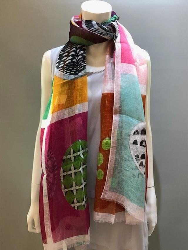 LARIOSETA(ラリオセタ)OK969/10894 Col.4 麻(リネン)100% イタリア製 プリントスカーフ