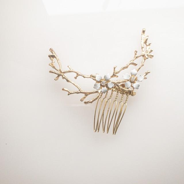 エナメルflower  枝 ヘッドドレス単品①
