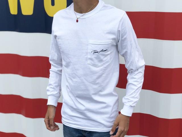 ThreeArrows ポケット付きロングTシャツ(white)