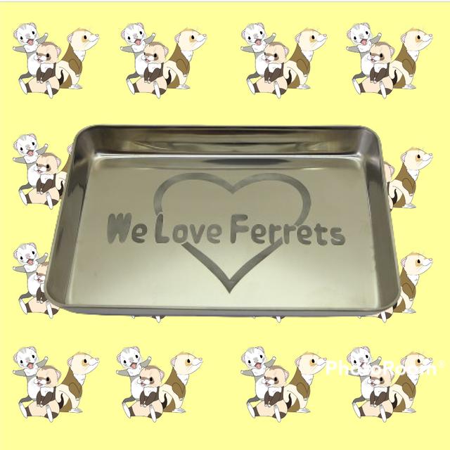 We Love Ferrets ステンレスキッチントレー(外形 215mm x 160mm) 厚さ 22mm